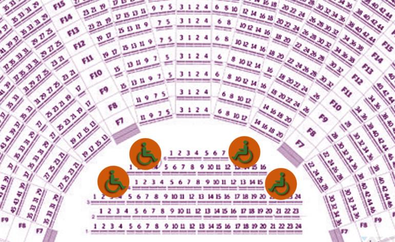 mappa della platea del teatro romano di verona con gli spazi riservati alle persone disabili in carrozzina