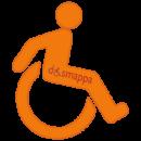 logo con simbolo handicap disabilita carrozzina dinamica arancio trasparente dismappa verona