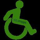 logo con simbolo handicap disabilita carrozzina dinamica verde trasparente dismappa verona
