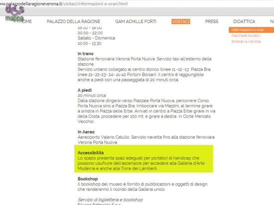 Sul sito web Palazzo della Ragione si dichiarano gli spazi accessibili