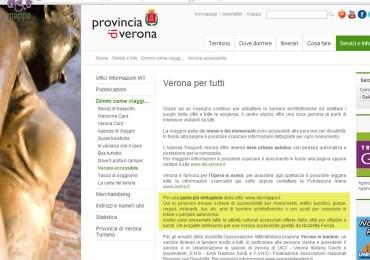 Anche il sito del turismo della Provincia di Verona ha ora una pagina dedicata a Verona accessibile / Verona per tutti, dove si rimanda a dismappa per le informazioni dettagliate: una grande soddisfazione vedere che il progetto è riconosciuto e apprezzato, e che le informazioni sull'accessibilità iniziano a essere presenti nei siti istituzionali.