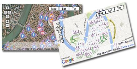 Le mappa google con le schede accessibilità di dismappa, e mappa per parcheggi e bagni disabili a Verona