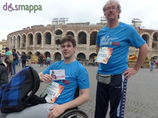 Nicolò dopo aver corso in carrozzina la Wings for Life a Verona, testimone di accessibilità per dismappa