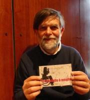 Lo scrittore, attore, regista e fumettista Jacopo Fo testimone di accessibilità per dismappa alla presentazione del Musalab (Museo Archivio Laboratorio Franca Rame-Dario Fo) di Verona