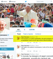 """Nel giorno in cui si celebra l'odierna Giornata mondiale del Turismo indetta dall'Onu ed incentrata sul tema """"Turismo per tutti. Promuovere l'accessibilità universale"""", Papa Francesco ha lanciato sull'account @Pontifex un nuovo tweet: """"Promuoviamo - scrive il Santo Padre - un turismo sostenibile, che porti sviluppo e incontro con le popolazioni locali, ed eviti ogni sorta di discriminazione""""."""