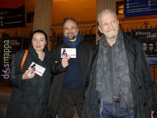 Umberto Orsini, Massimo Popolizio e Alvia Reale testimoni di accessibilità per dismappa dopo la prima veronese di The Price